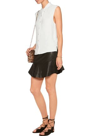 MAJE Embellished lace-trimmed georgette shirt