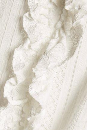 MAJE Ruffled paneled open-knit and cady top