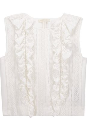 MAJE Ruffled paneled open-knit and cady top