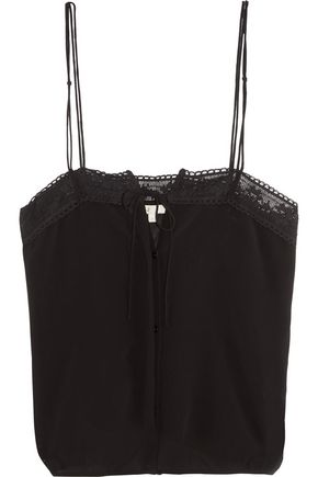 MAJE Crochet-trimmed chiffon top