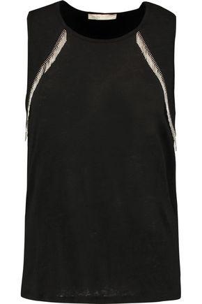 MAJE Embellished linen top