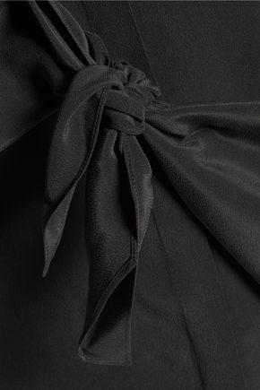 THEORY Zallane knotted silk crepe de chine shirt