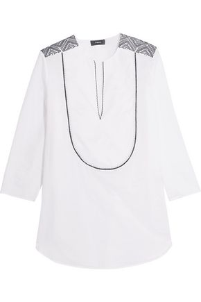 THEORY Jalinnie embroidered cotton-poplin top