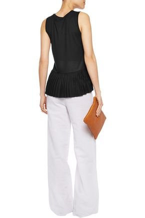 THEORY Elvnee pleated stretch-jersey top