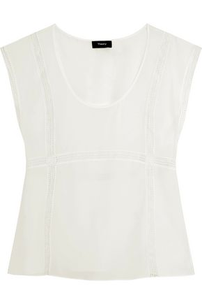 THEORY Lace-paneled silk top