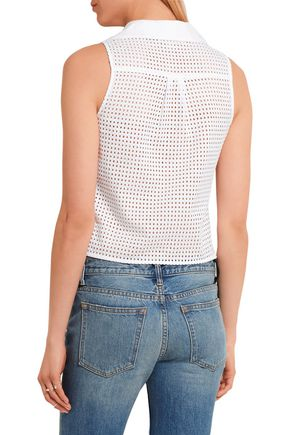 MICHAEL MICHAEL KORS Knotted broderie anglaise cotton top