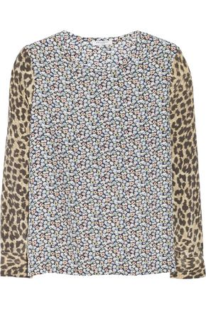 EQUIPMENT Printed washed-silk top