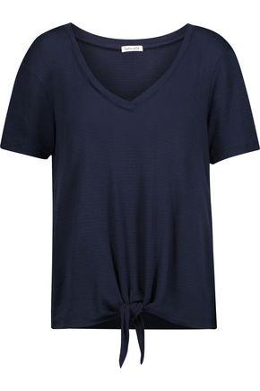 SPLENDID Knotted striped stretch-jersey T-shirt