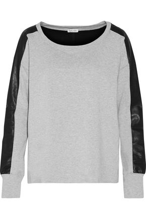 SPLENDID Mix Media faux leather-paneled stretch-jersey sweatshirt