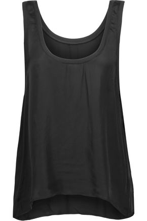 ENZA COSTA Ribbed knit-trimmed satin tank
