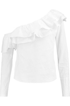 W118 by WALTER BAKER Dorothy one-shoulder cotton-poplin top