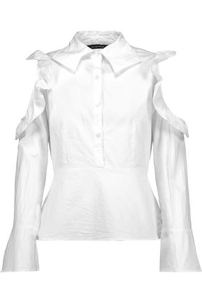 W118 by WALTER BAKER Jessica cold-shoulder ruffled cotton-poplin top