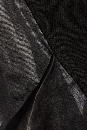 CLU Satin-paneled cotton-jersey sweatshirt