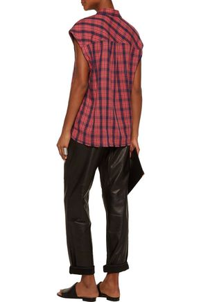 IRO Kenna plaid wool and linen-blend top