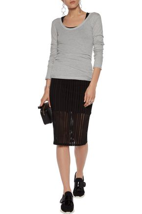 T by ALEXANDER WANG Cotton, wool and cashmere-blend jersey top