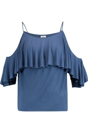 BAILEY 44 Flutter cold-shoulder layered stretch-jersey top