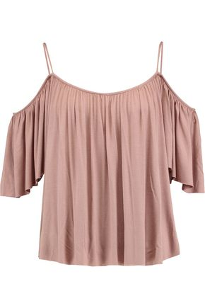 BAILEY 44 Fairy cold-shoulder gathered jersey top