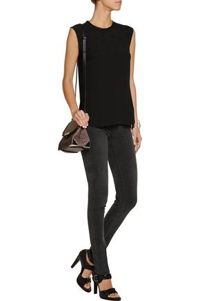 HELMUT LANG Leather-trimmed silk-cloqué top