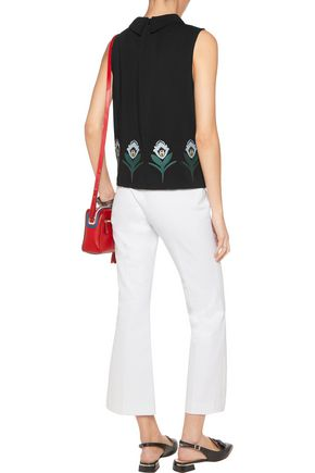 MARKUS LUPFER Folklore embroidered stretch-crepe top
