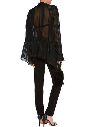 PREEN by THORNTON BREGAZZI Coral gathered metallic fil coupé blouse