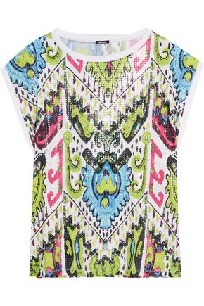 JUST CAVALLI Printed sequined stretch-jersey top