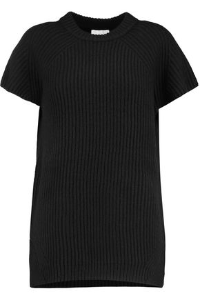 DKNY PURE Ribbed wool-blend T-shirt