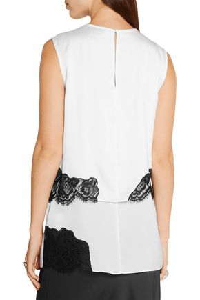 DKNY Layered lace-trimmed stretch-silk blouse