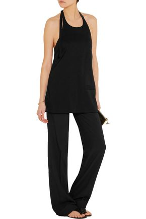 EDUN Leather-trimmed satin and crepe top