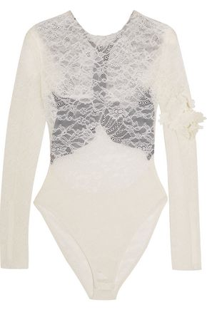 PREEN by THORNTON BREGAZZI Varlese appliquéd lace and stretch-crepe bodysuit