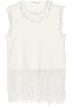 EDUN Fringed stretch-knit top