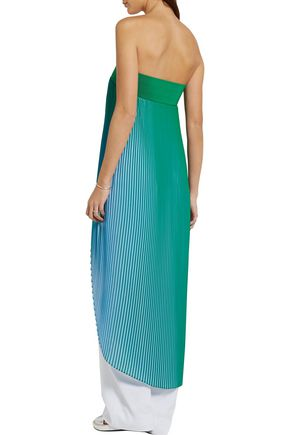 STELLA McCARTNEY Strapless plissé-georgette top