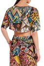 EMILIO PUCCI Cropped printed hammered-silk top