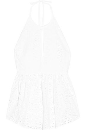 ELIZABETH AND JAMES Perth broderie anglaise cotton halterneck top