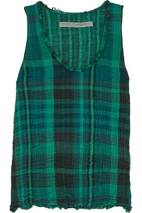 RAQUEL ALLEGRA Plaid crinkled cotton-gauze tank