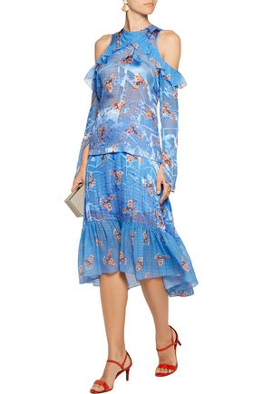 PREEN by THORNTON BREGAZZI Reed ruffled cold-shoulder printed fil coupé silk top