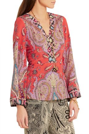 ETRO Printed silk crepe de chine top