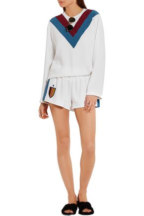STELLA McCARTNEY Striped silk-appliquéd stretch-cady shorts