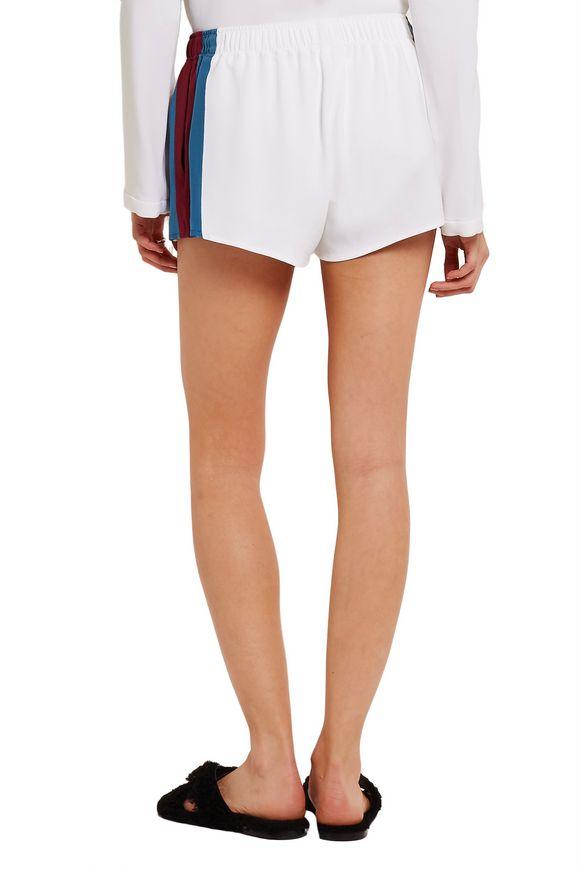 Striped silk-appliquéd stretch-cady shorts   STELLA McCARTNEY   Sale up to  70% off   THE OUTNET