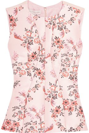 STELLA McCARTNEY Floral-jacquard and crepe top