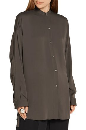 HELMUT LANG Split-back stretch-silk crepe de chine shirt