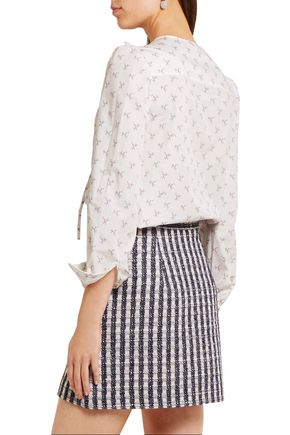 MIU MIU Ruffle-trimmed printed cotton blouse