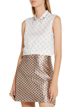 MIU MIU Crystal-embellished printed cotton-poplin shirt