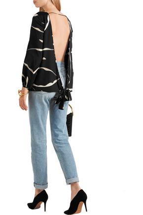 DIANE VON FURSTENBERG Evvy open-back printed stretch-silk top
