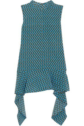 MARNI Draped printed silk-georgette top