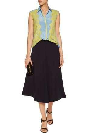 PREEN by THORNTON BREGAZZI Layton lace-paneled silk-crepe top