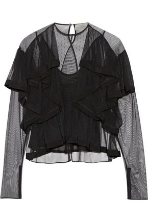 PREEN by THORNTON BREGAZZI Elvina ruffled tulle blouse
