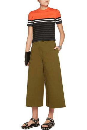 T by ALEXANDER WANG Cropped striped stretch-cotton top