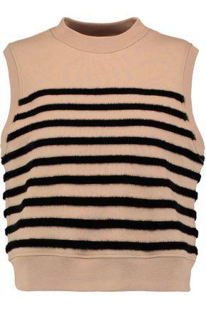 T by ALEXANDER WANG Faux fur-striped cotton tank