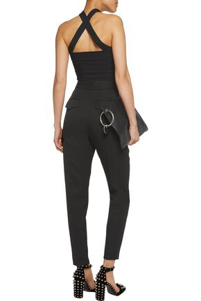 T by ALEXANDER WANG Cropped ribbed stretch-knit top