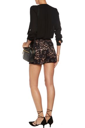 ALEXIS Dean cotton-blend lace shorts